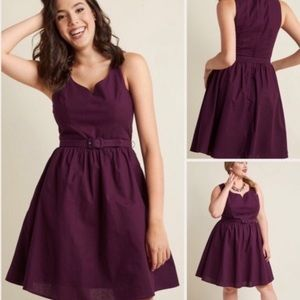 ModCloth Belted Fit and Flare Dress in Dark Purple